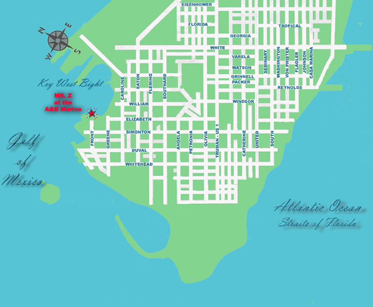 map of key west florida. Map to the Mr. Z at the A&B Marina, Key West Bight